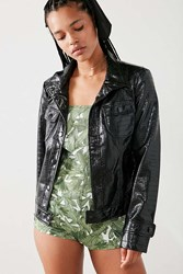 Silence And Noise Selena Faux Patent Leather Trucker Jacket Black