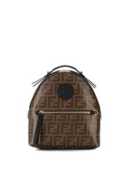 Fendi Mini Ff Logo Backpack Brown