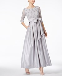 Jessica Howard Pleated Lace A Line Gown Grey