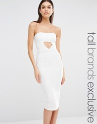 Missguided Tall Exclusive Cut Out Bandeau Midi Dress White