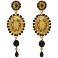 Dolce And Gabbana Gold Black Crystal Madonna Earrings