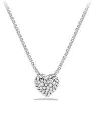 David Yurman Chatelaine Heart Pendant With Diamonds On Chain Silver