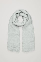 Cos Crinkled Stretch Cotton Scarf Light Grey