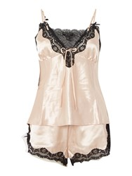 Lipsy Silky Lace Trim Cami And Short Pj Set Pink