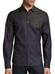 Saks Fifth Avenue Red Cotton Blend Chambray Shirt Dark Grey