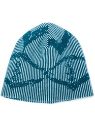 Baja East Striped Intarsia Beanie Blue