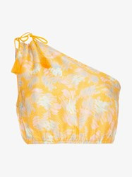 A Peace Treaty Yuna One Shoulder Print Silk Linen Blend Top Yellow And Orange