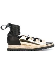 Sacai Lace Up Espadrille Sandals Women Raffia Leather Patent Leather Rubber 38 Metallic