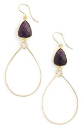Women's Sonyarenee 'Mindee' Semiprecious Stone Drop Hoop Earrings Amethyst