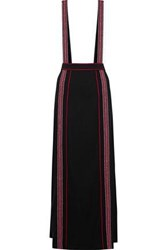Anna Sui Embroidered Crepe Maxi Skirt Black