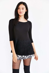 Cooperative Heather Babydoll Top Black