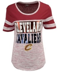 5Th And Ocean Women's Cleveland Cavaliers Space Dye Foil T Shirt Maroon