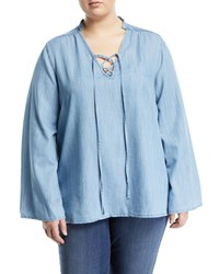 Melissa Mccarthy Seven7 Lace Up Chambray Blouse Blue