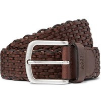 Hugo Boss 3.5Cm Dark Brown Woven Leather Belt Brown