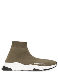 Balenciaga 30Mm Speed Knit Sock Sneakers Khaki