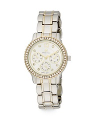 Adrienne Vittadini Pave Bezel Two Tone Chronograph Watch Goldtone Silver Gold
