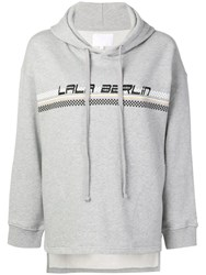 Lala Berlin Logo Embroidered Hooded Sweatshirt Grey