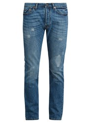 Valentino Distressed Slim Leg Jeans Denim