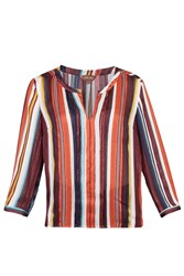 Jolie Moi Striped Pleat Detail Blouse Red