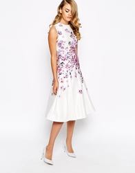 True Violet Structured Prom Dress In Placement Floral Print Cream