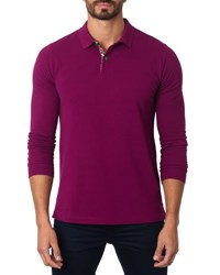 Jared Lang Long Sleeve Cotton Blend Polo Shirt Wine
