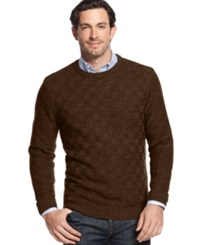 Geoffrey Beene Big And Tall Solid Basketweave Sweater Chocolate