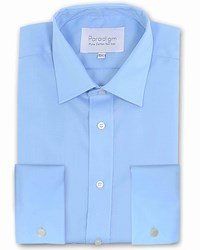 Double Two Paradigm King Size Cuff 100 Cotton Shirt Blue