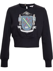 Olympia Le Tan Crest Embroidered Sweatshirt Black