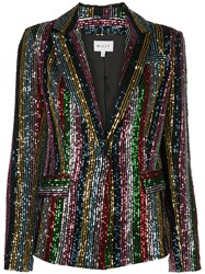 Milly Sequinned Single Breasted Blazer Black