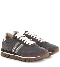 5899681d4c1 Brunello Cucinelli Embellished Suede Trimmed Sneakers Brown