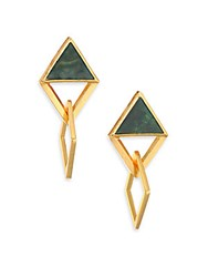 Stephanie Kantis Element Green Moss Agate Drop Earrings Gold Green