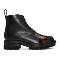 Dsquared2 Black Punk Tape Lace Up Boots