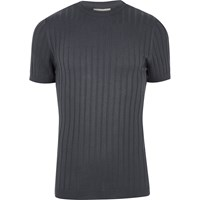 River Island Mens Dark Blue Chunky Ribbed Muscle Fit T Shirt