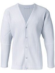 Homme Plisse Issey Miyake Pleated Button Fastening Cardigan Grey