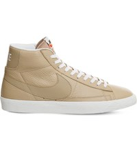 Nike Blazer Mid Top Leather Trainers Linen Summit White