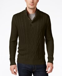 Tricots St Raphael St. Men's Faux Sherpa Trim Cable Knit Mock Neck Sweater Mahogany Heather