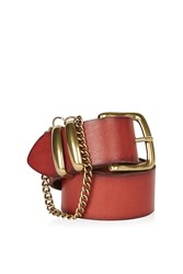 Topshop Chain Detail Real Leather Belt Tan