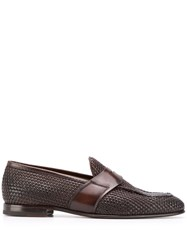 Silvano Sassetti Woven Low Heel Loafers Brown