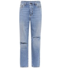 Saint Laurent High Waisted Cropped Jeans Blue