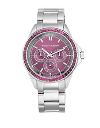 Vince Camuto Purple Crystal Accented Stainless Steel Chronograph Vc 5087Prsv Silver
