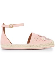 Coach Floral Embellished Espadrilles Pink And Purple