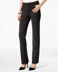 Charter Club Petite Faux Leather Trim Straight Leg Ponte Pants Only At Macy's Heather Onyx