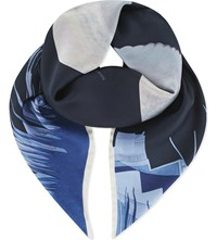 Aspinal Of London Owl In The City Scarf Navy