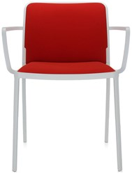 Kartell Audrey Soft Arm Chair Set Of 2 Red Trevira Painted Black