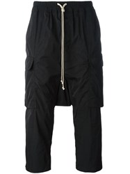 Rick Owens Drop Crotch Cropped Cargo Trousers Black