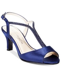 Caparros Delicia T Strap Evening Sandals Women's Shoes Navy Satin