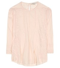 Vanessa Bruno Embroidered Ramie And Cotton Blouse Pink