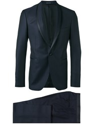 Tagliatore Shawl Lapel Two Piece Suit Blue