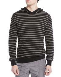 Vince Striped Linen Cotton Pullover Hoodie H Black H Mushroo