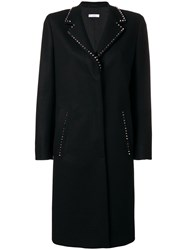 Versace Collection Studded Single Breasted Coat Black